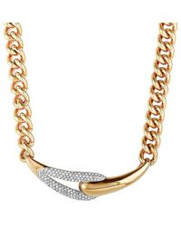 Swarovski Crystal Rose Gold Plated Stainless Steel Necklace - Metallic