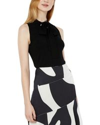 MILLY Tie-neck Shell - Black