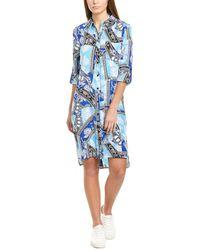 Diane von Furstenberg Prita Silk Crepe De Chine Belted Shirt Dress - Blue