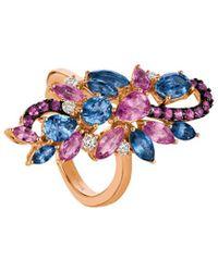 Le Vian 14k Rose Gold 3.65 Ct. Tw. Diamond & Cornflower Ceylon Sapphire Ring - Multicolour