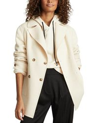 Reiss Amber Blindseam Double Breasted Wool-blend Coat - Natural