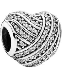 PANDORA - Love Lines Silver Cz Charm - Lyst