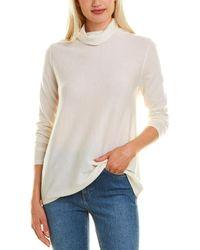 Forte Fine Gauge Cashmere Top - White
