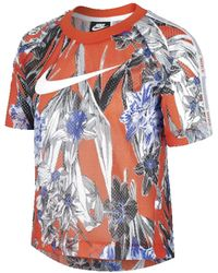 Nike Sportswear Hyper Femme Short Sleeve All Over Print (team Orange/white) Clothing - Multicolor