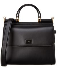 Dolce & Gabbana Large Calfskin Sicily 58 Bag - Black