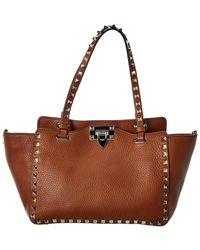 Valentino Garavani Rockstud Small Leather Tote - Brown