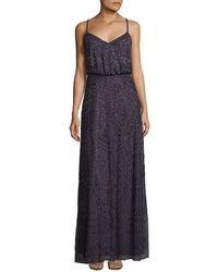 Adrianna Papell Crisscross Back Sequined Blouson Gown - Multicolour