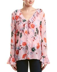 C/meo Collective Elude Long Ruffle Bell Sleeve Vneck Blouse Top - Pink