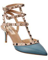 Valentino Garavani Rockstud Caged 65 Leather Ankle Strap Pump - Blue