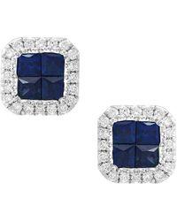 Effy 14k 0.85 Ct. Tw. Diamond & Sapphire Earrings - Blue