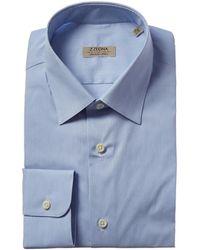 Z Zegna Stretch Slim Fit Dress Shirt - Blue
