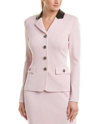 St. John Leather-trim Wool-blend Blazer - Pink