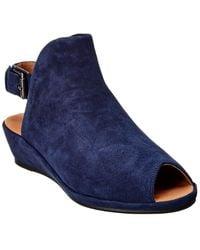 Gentle Souls Lyla Suede Peep-toe Wedge Sandals - Blue