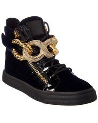 Giuseppe Zanotti - Embellished Velvet & Patent High-top Sneaker - Lyst