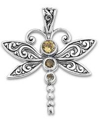 Samuel B. Silver 0.56 Ct. Tw. Citrine Dragonfly Necklace Pendant - Metallic
