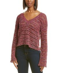 Autumn Cashmere Cotton By Open Knit Top - Red