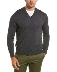 Brooks Brothers Merino V-neck Sweater - Gray