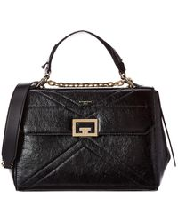Givenchy Id Medium Crackling Leather Satchel - Black