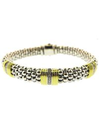 Lagos Caviar Lux 18k & Silver 0.19 Ct. Tw. Diamond Bracelet - Metallic