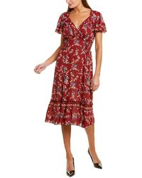Max Studio Flounce Midi Dress - Red