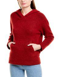 Vince Oversized Wool & Alpaca-blend Hoodie - Red