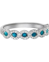 Diana M. Jewels . Fine Jewelry 14k 0.49 Ct. Tw. Diamond & Blue Sapphire Ring