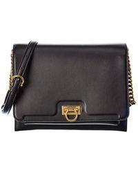 Ferragamo Trifolio Flap Shoulder Bag - Black