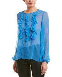 Prabal Gurung Ruffle Front Silk Blouse - Blue