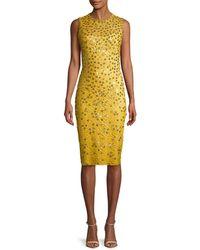 Jenny Packham Metallic Floral Lace Dress - Yellow