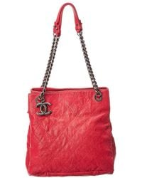 Chanel - Red Caviar Leather Simply Small Cc Tote - Lyst