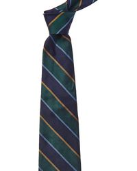 Brooks Brothers Green And Blue Stripe Silk Tie
