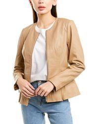 Badgley Mischka Peplum Leather Jacket - Natural