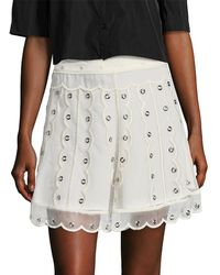 51a7df715a RED Valentino - Silk Embroidered Eyelet A-line Skirt - Lyst