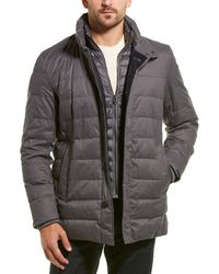 Cole Haan Flannel Down Coat - Gray