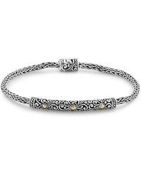 Samuel B. 18k & Silver Woven Chain Bracelet - Metallic