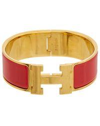 Hermès - Red Enamel Wide Clic-clac H Bracelet - Lyst