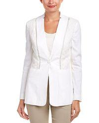 Elie Tahari Linen-blend Jacket - White