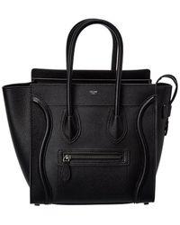 Celine Luggage Micro Leather Tote - Black