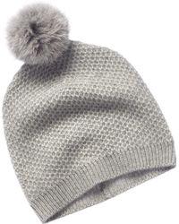 Phenix Cashmere Grey Honeycomb Knit Hat - Gray