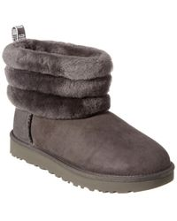 UGG Women's Fluff Mini Quilted Suede Boot - Grey