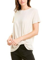 Vince Camuto Knot-front Linen-blend Top - Brown