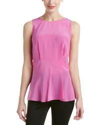 Magaschoni Silk Ruffle Hem Top - Pink