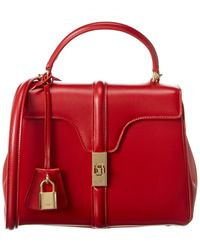 Celine Small 16 Leather Satchel - Red
