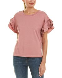 Current/Elliott The Carina Ruffle-trimmed Cotton-jersey Top - Pink