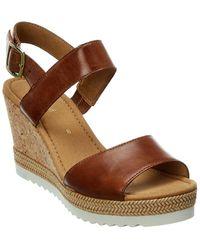 Gabor Leather Wedge Sandal - Brown