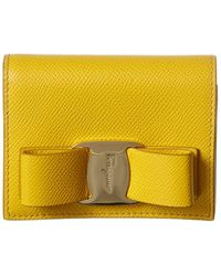 Ferragamo Vara Bow Leather Bifold Wallet - Yellow