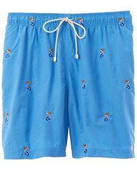 J.McLaughlin Gibson Embroidered Swim Trunk - Blue