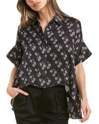 Alice + Olivia Edyth Drapey Shirt - Black