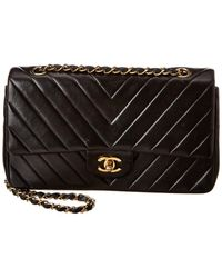 Chanel Black Chevron Quilted Lambskin Leather Medium Double Flap Bag