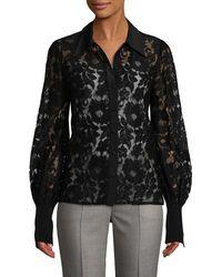 Jill Stuart Floral Lace Blouse - Black